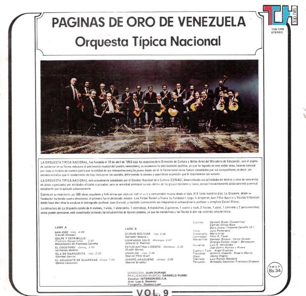 Orquesta Típica Nacional - Páginas de Oro de Venezuela Vol 9tt