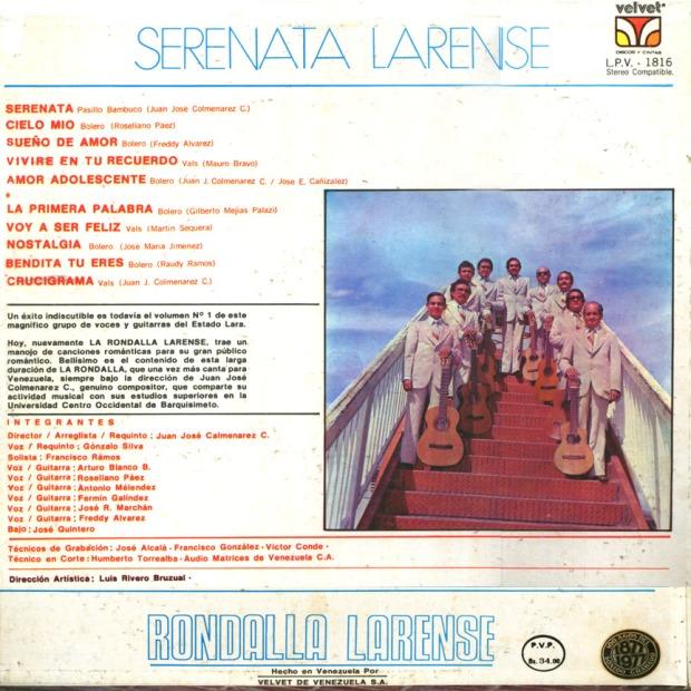 Rondalla larense serenata larense. Back